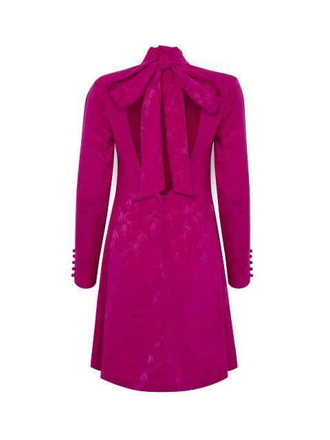 Bamboo Jacquard Open Back Stretch Silk Dress