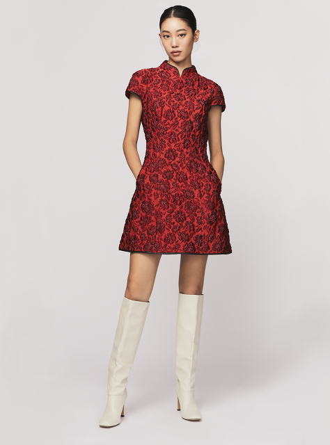 Embossed Floral Jacquard Qipao