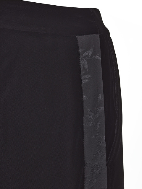 Peony Jacquard Side Stripe Velvet Palazzo Pants