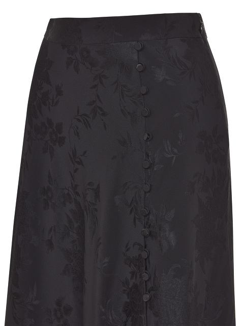 Peony and Chrysanthemum Jacquard Silk Skirt with Contrast Lining