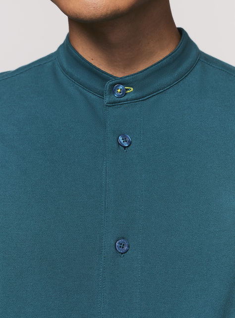 Cotton Piqué Band Collar Shirt