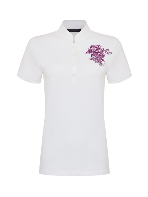 Chrysanthemum Embroidery Polo Shirt