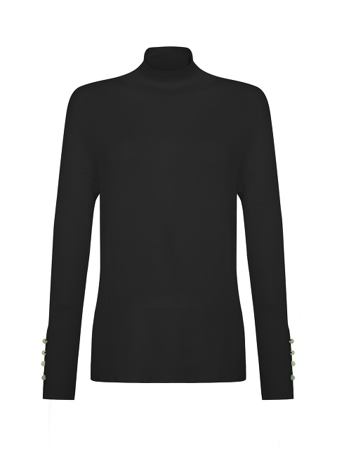Jewel Button Turtleneck Wool Sweater