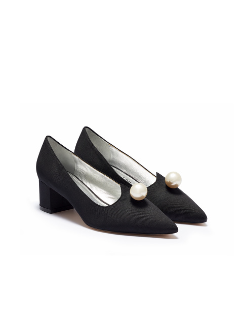Bing Xu for Shanghai Tang Pearl Embellished Silk Low-Heel Pump