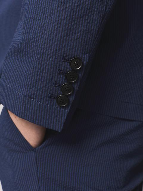 Seersucker 5 Button Stripe Jacket