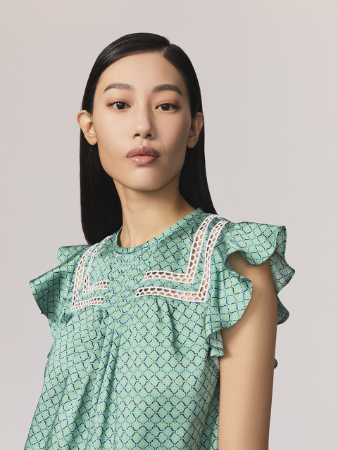 Geometric Sprout Print Blouse