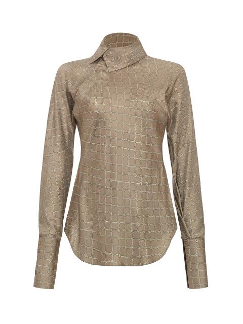 Yuni Ahn for Shanghai Tang Silk Lattice Split Qipao Collar Blouse