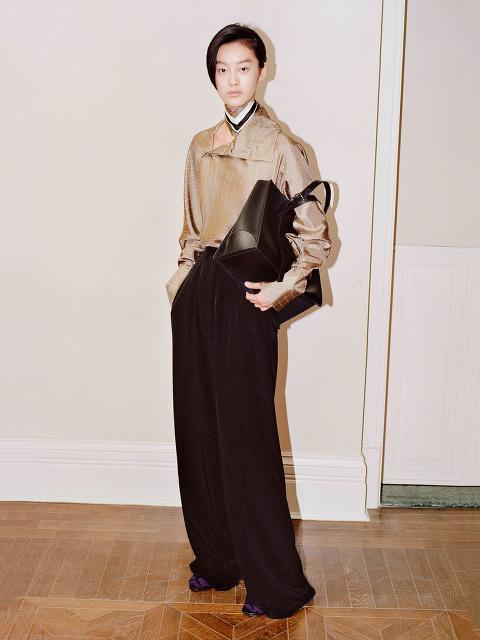 Yuni Ahn for Shanghai Tang Silk Pleated Palazzo Pants
