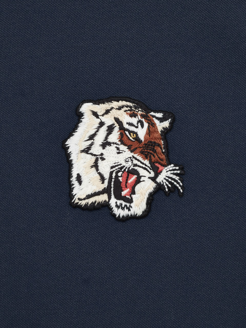 Mandarin Collar Tiger Patch Polo Shirt