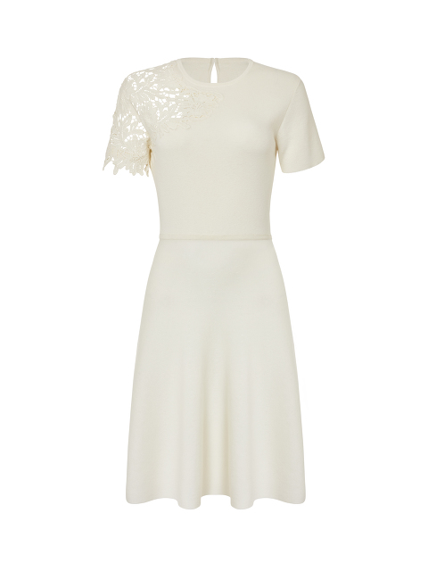 Cotton Cashmere Lace Panel Dress