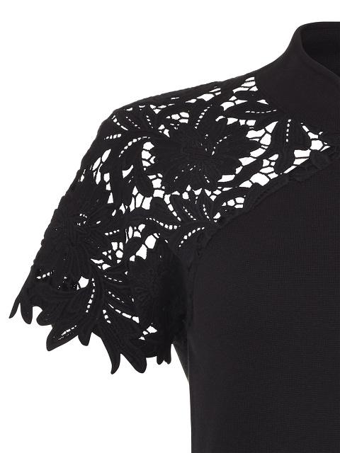 Lace Crochet Panel Qipao Top
