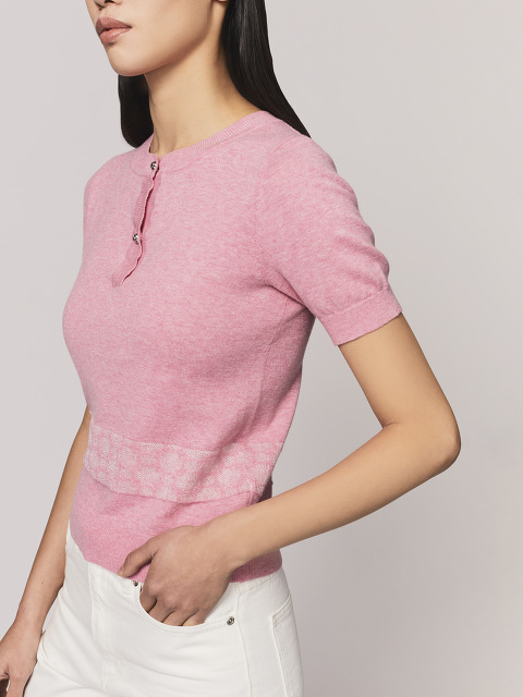 Window Jacquard Crew Neck Knit Top