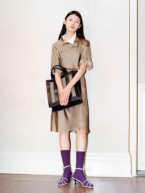 Yuni Ahn for Shanghai Tang Lattice Jacquard North South Tote