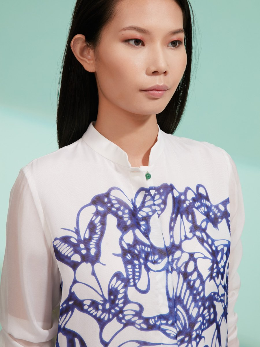 Butterfly Plate Print Silk Blouse