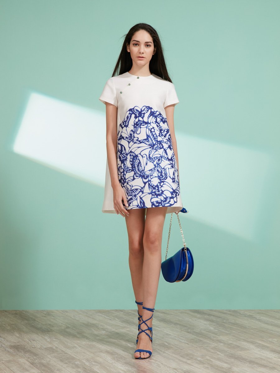 Butterfly Plate Print Short Sleeve Dress