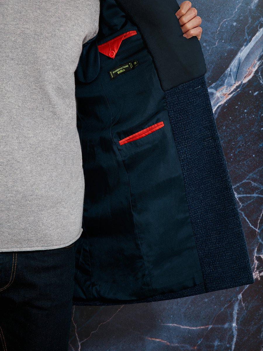 Fur Collar Wool Blend Coat (Slim Fit)