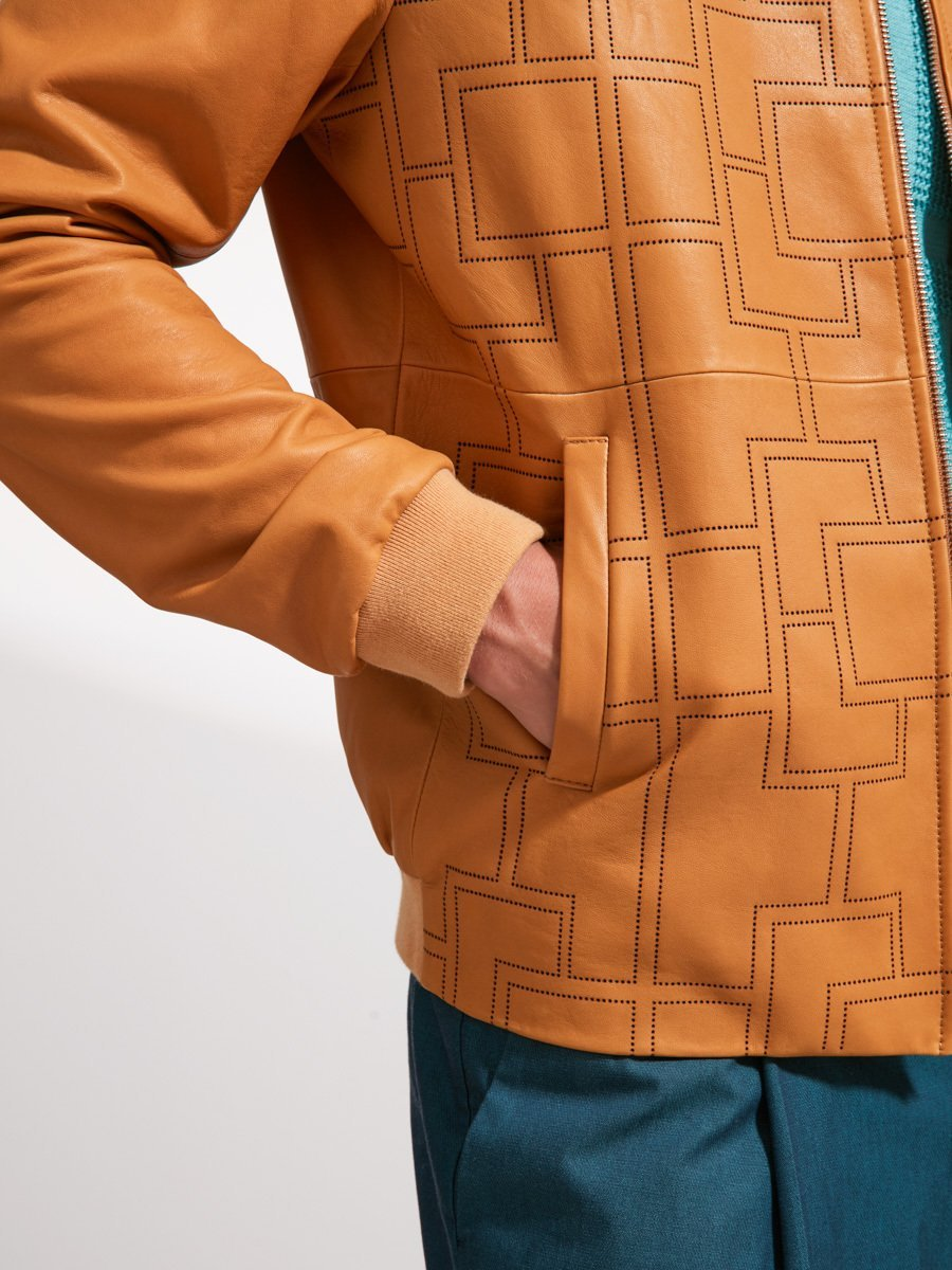 Lattice Punched Leather Jacket