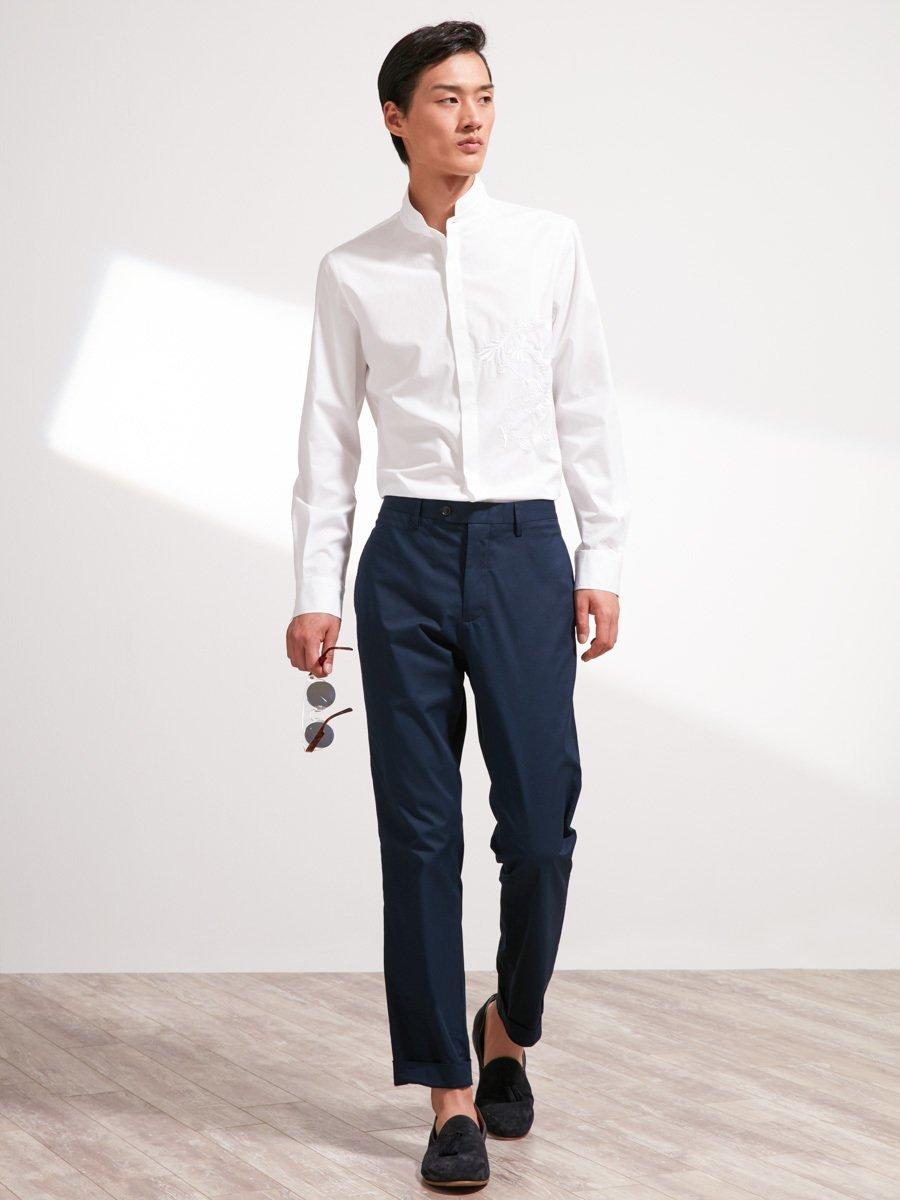 Cotton Mandarin Tip Collar Shirt with Dragon Embroidery