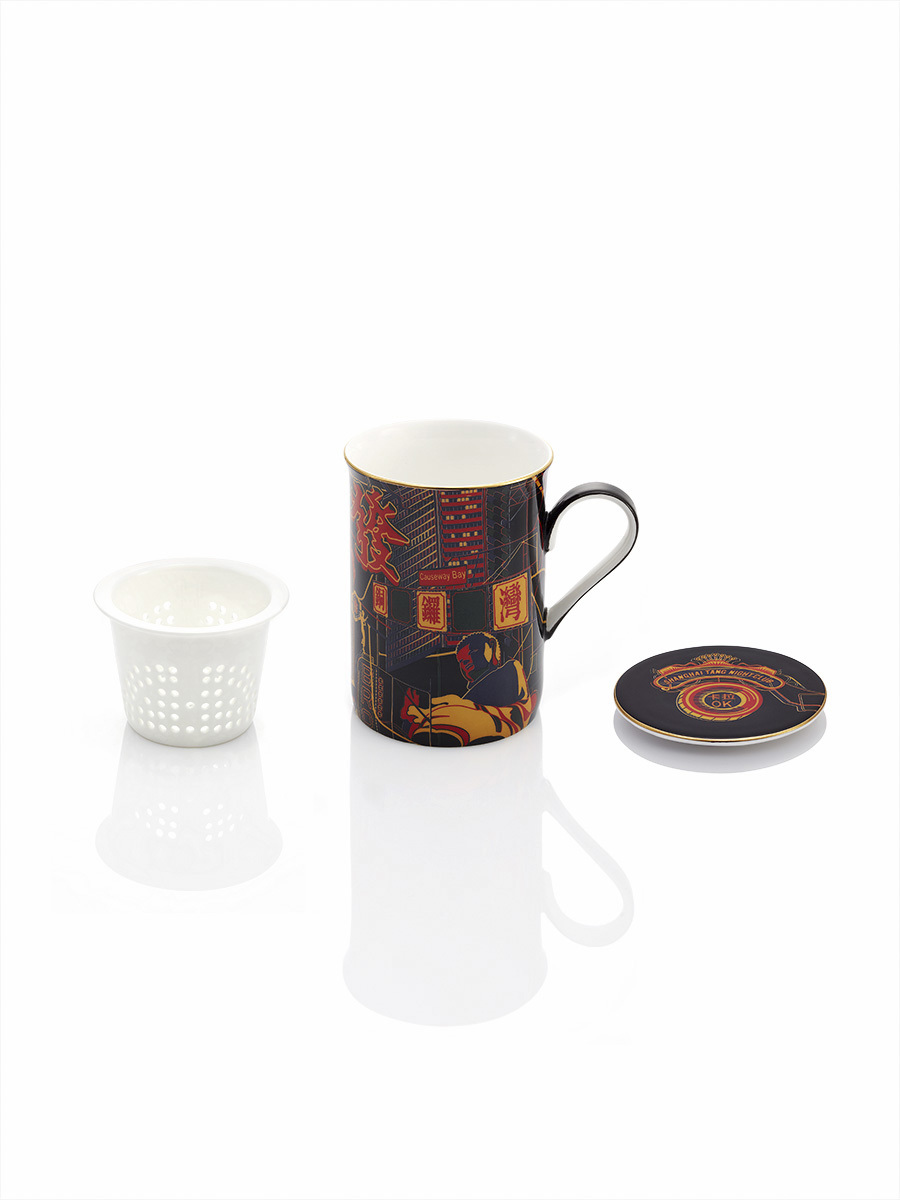 Neon Hong Kong Bone China Mug with Strainer and Lid