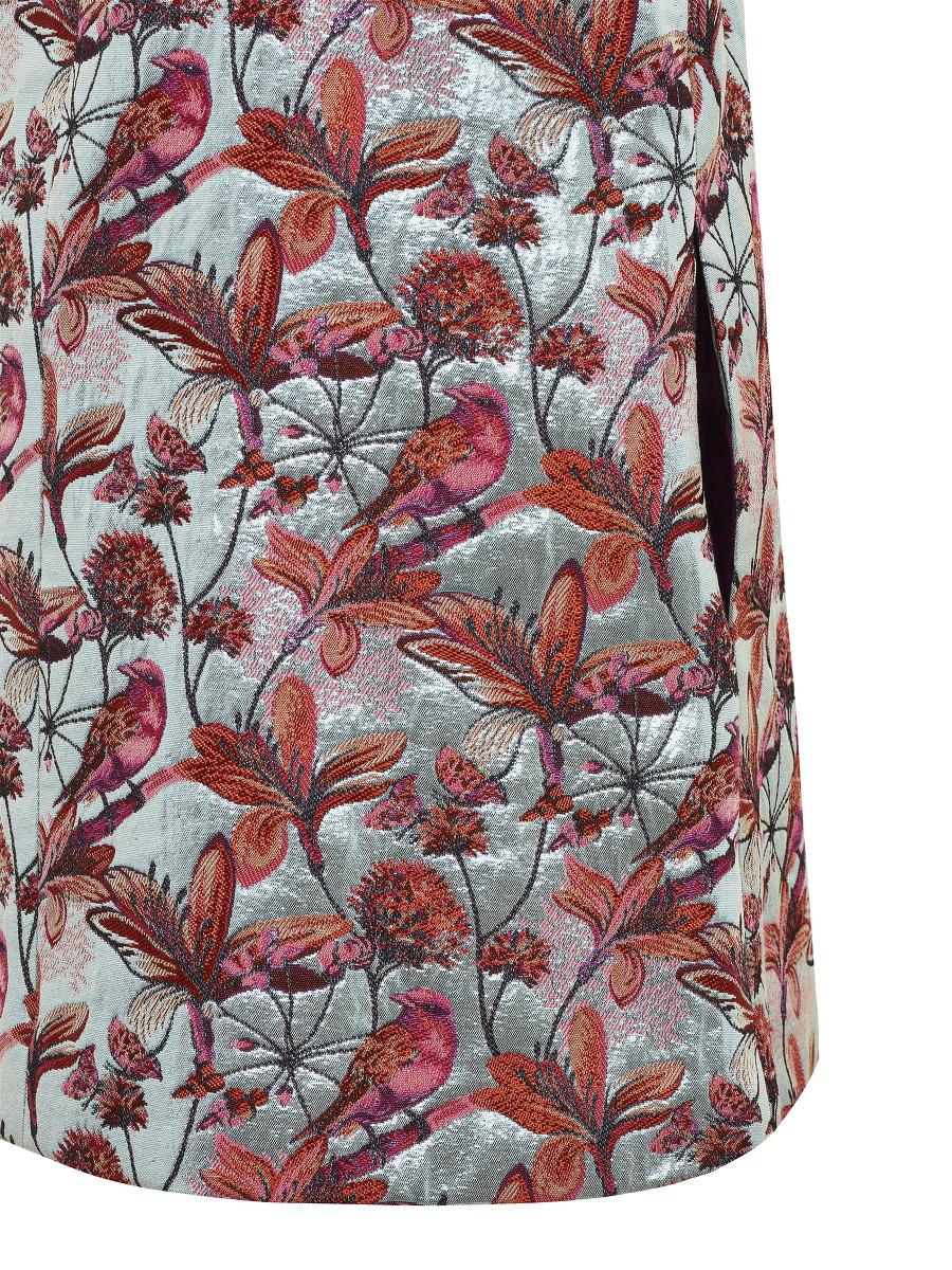 Bird and Floral Jacquard Kids Dress