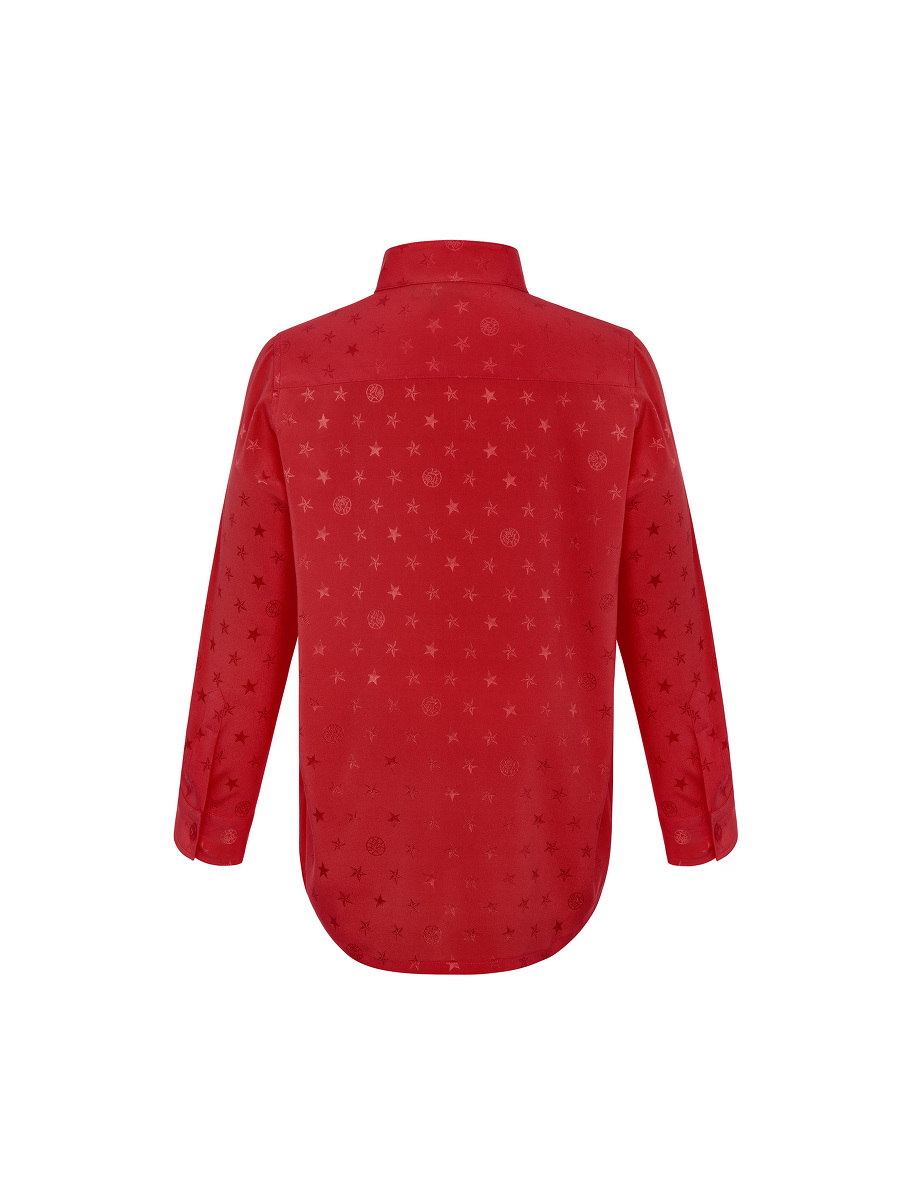 Star Jacquard Silk Kids Tang Shirt