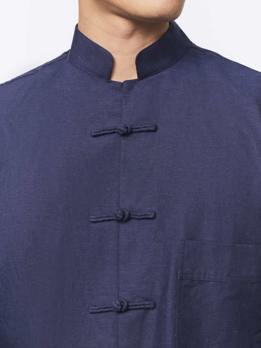 Cotton-linen Tang Shirt Jacket with Frog Buttons