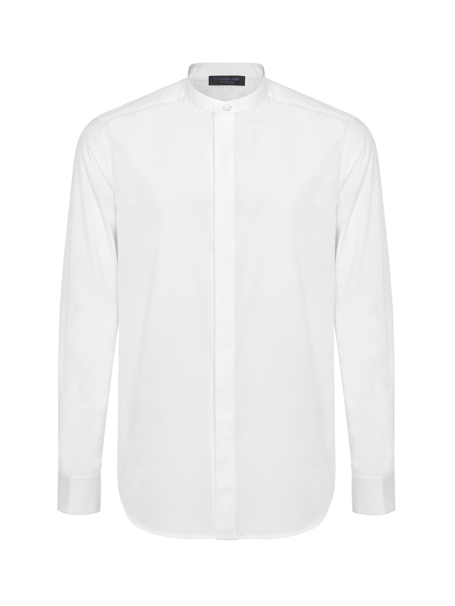 Knot Button Band Collar Shirt