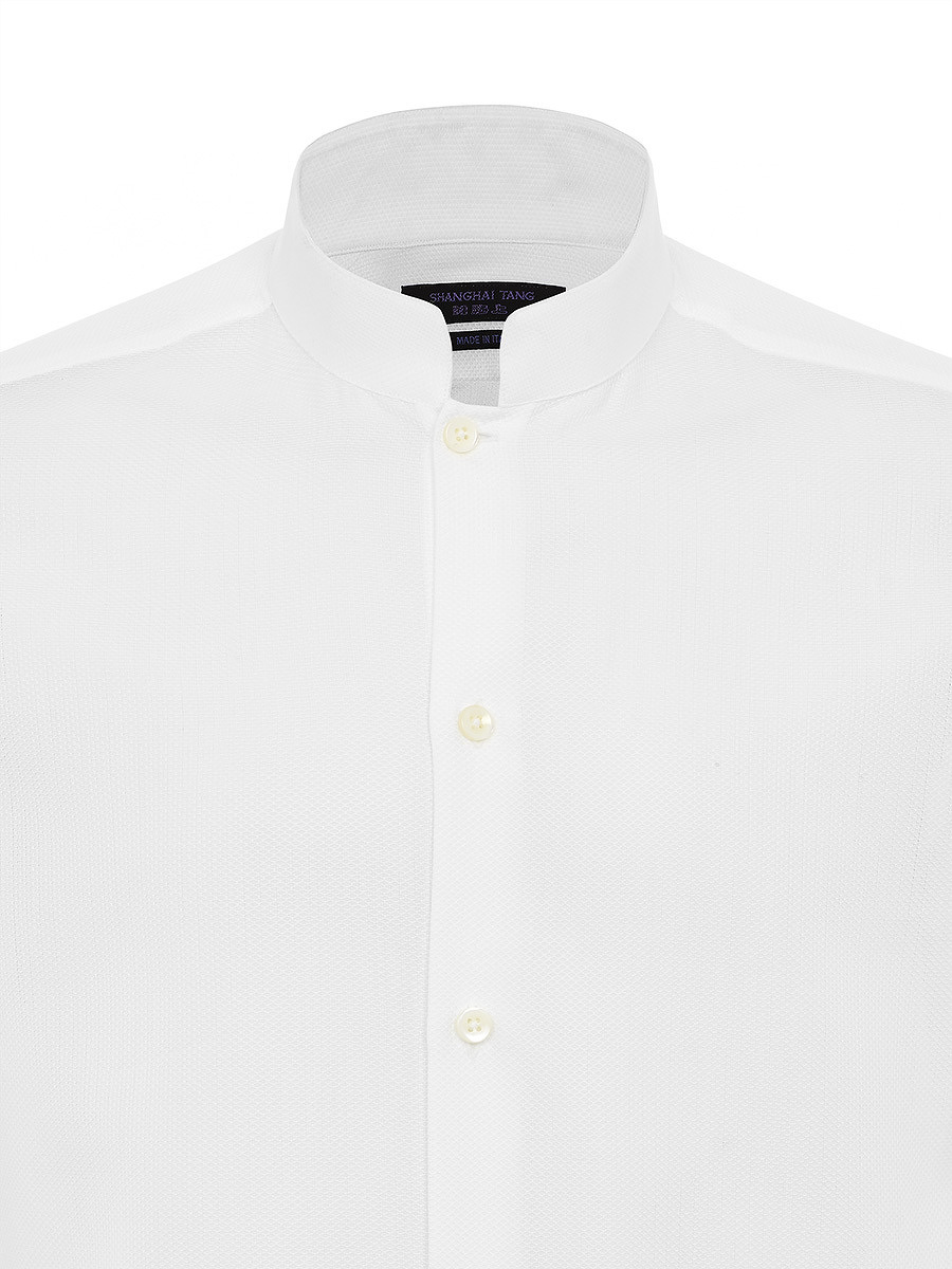 Mandarin Collar Cotton Pique Shirt