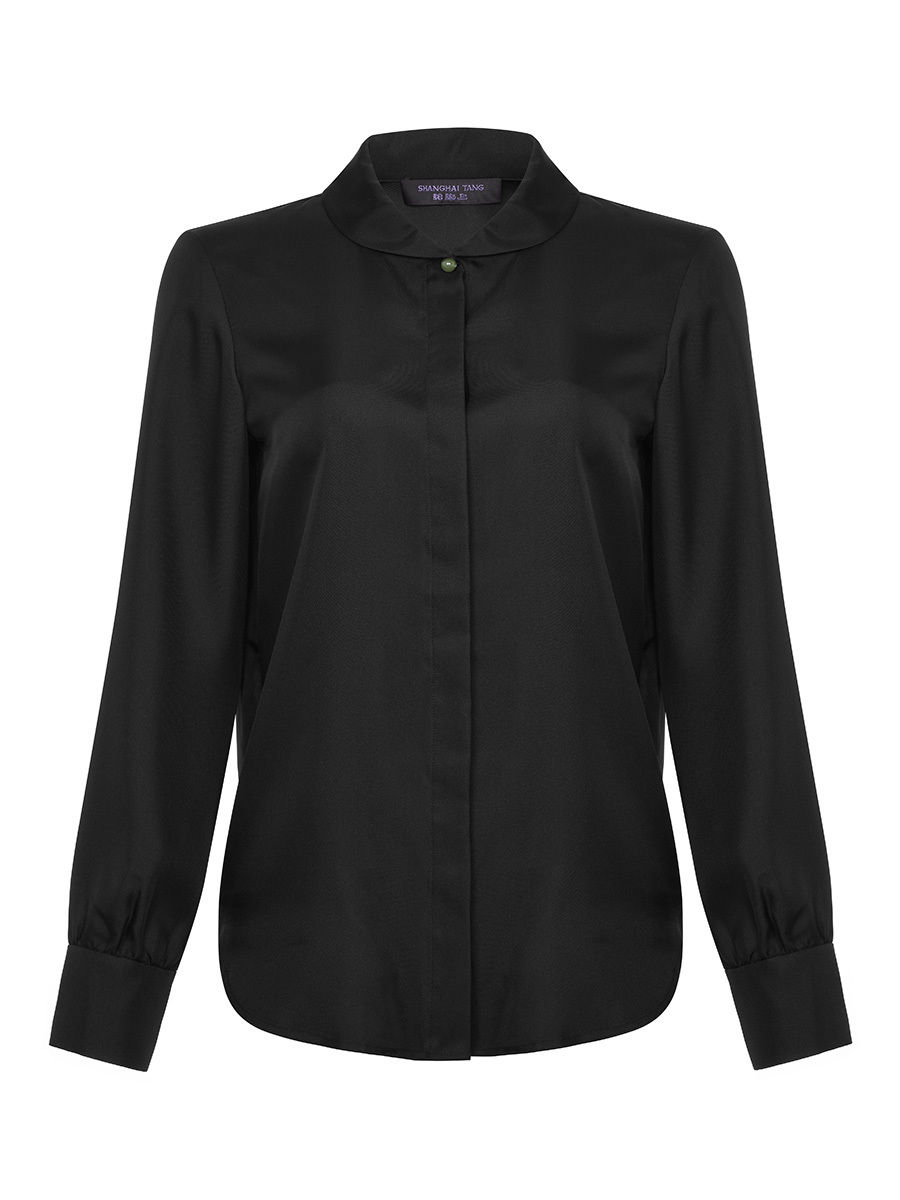 Jewel Button Silk Shirt