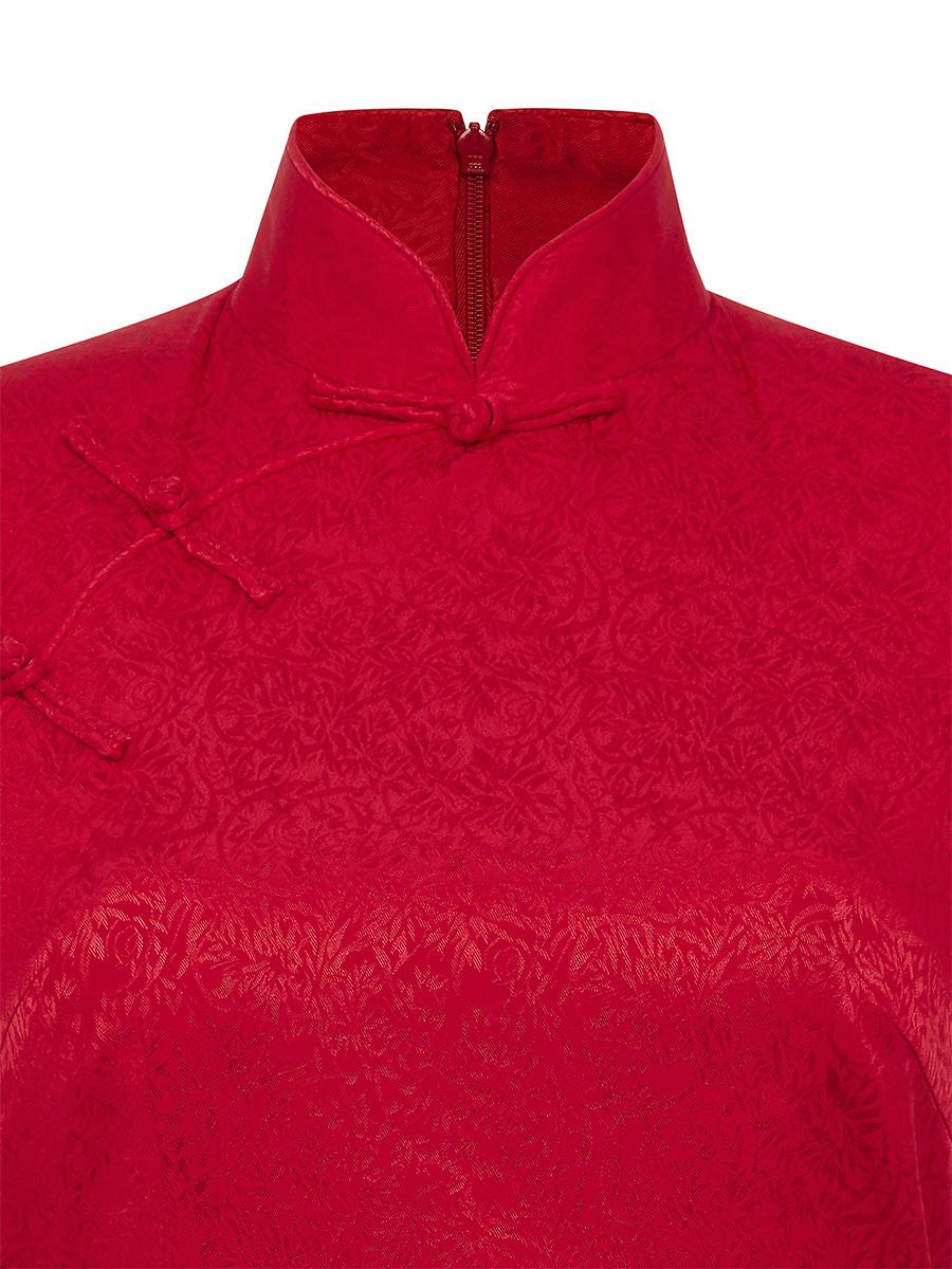 Floral Jacquard Stretch Silk Qipao