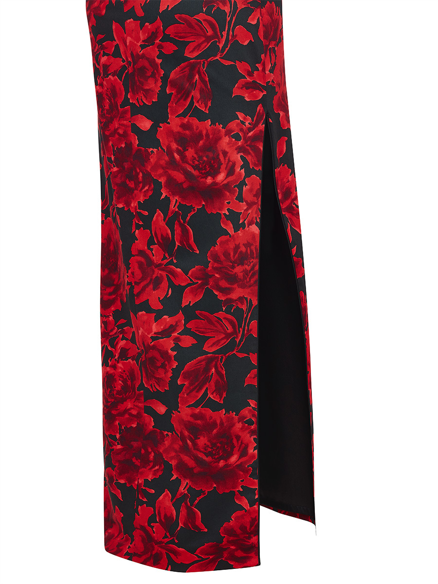 Rose Print Long Qipao with Silk Lining