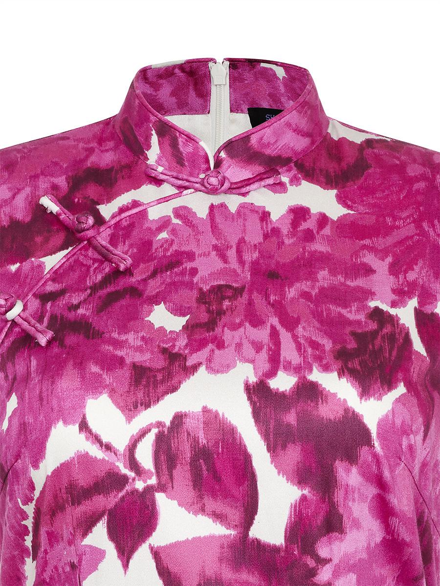 Chrysanthemum Print Qipao with Silk Lining