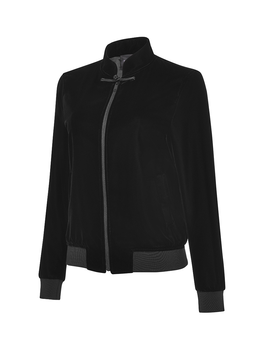 Mandarin Collar Velvet Bomber Jacket with Frog Button