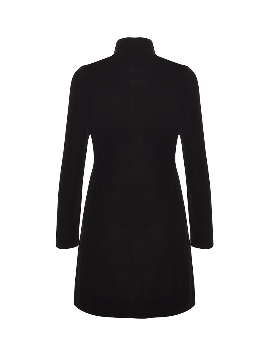 Mandarin Collar Velvet Coat