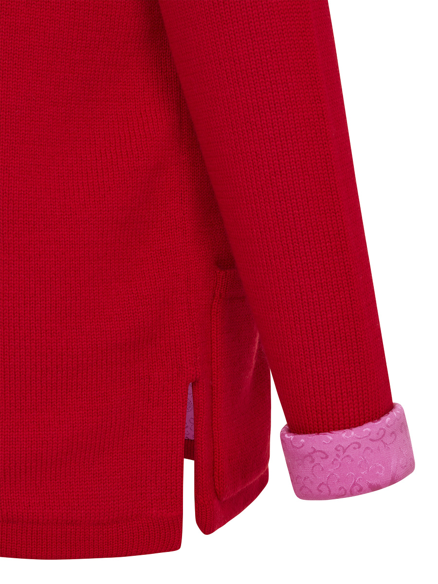 Kids Wool Zip Cardigan with Bird Jacquard Silk Lining