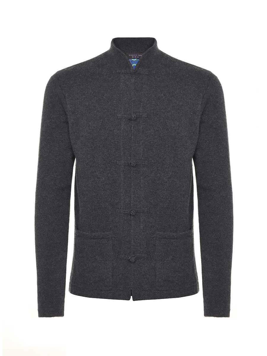 Cashmere-silk Frog Button Cardigan with Printed Silk Lining