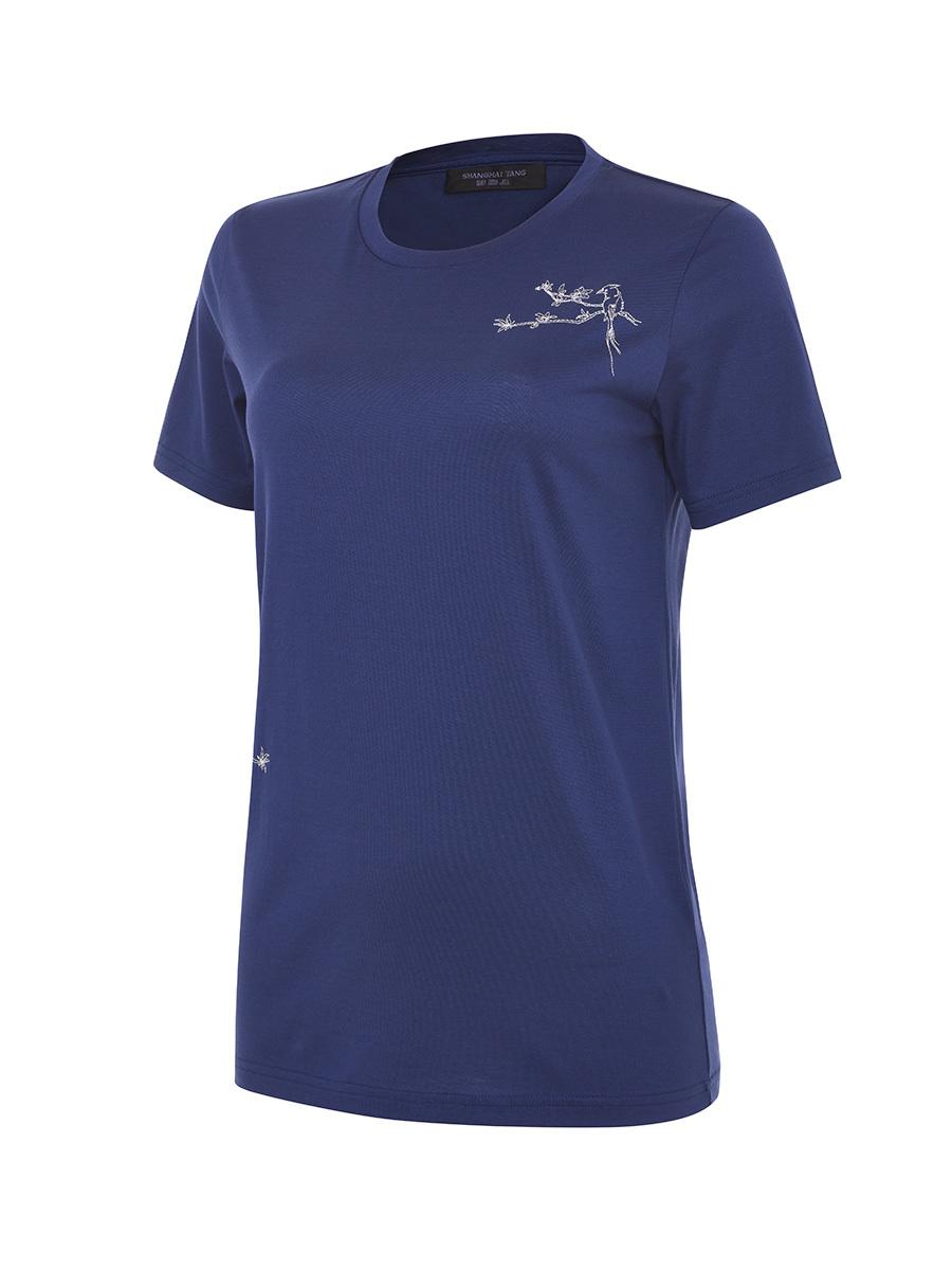 Bird Embroidery Cotton T-shirt