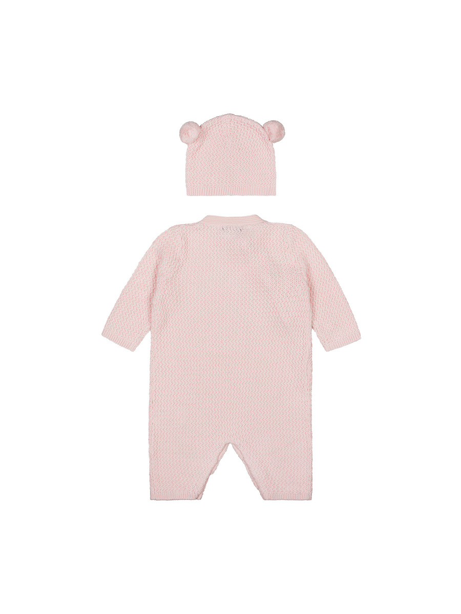 Cotton Knit Baby Playsuit and Beanie Set