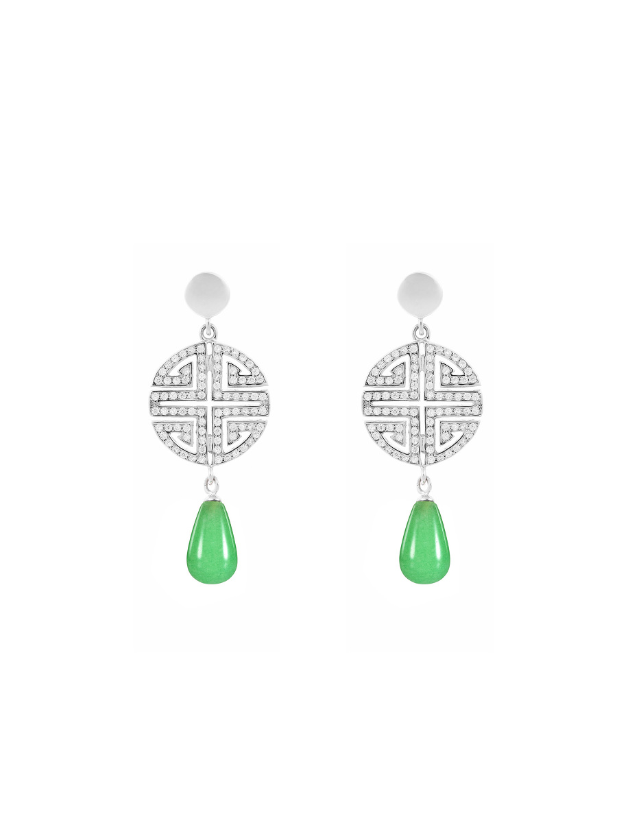 Shou Crystal Pavé Gemstone Drop Earrings