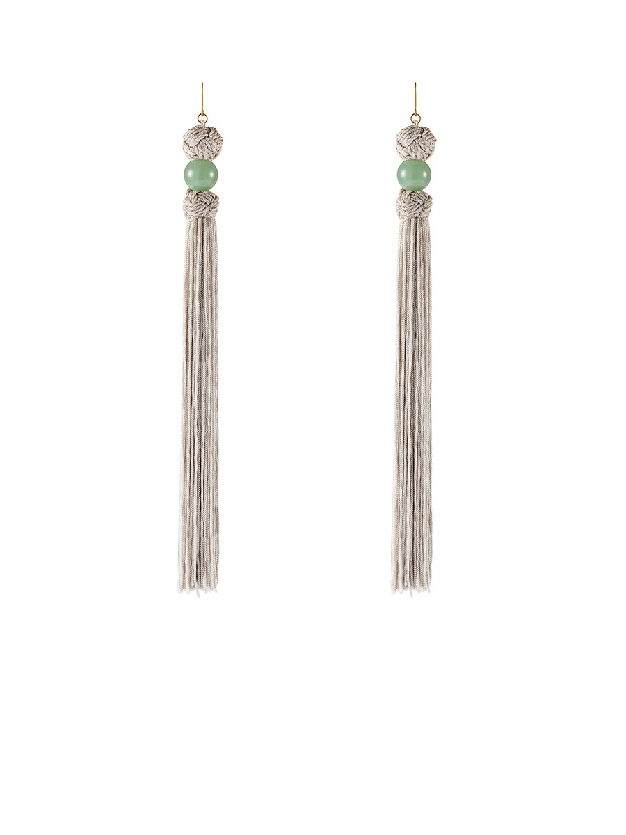 Gemstone Tassel Long Earrings