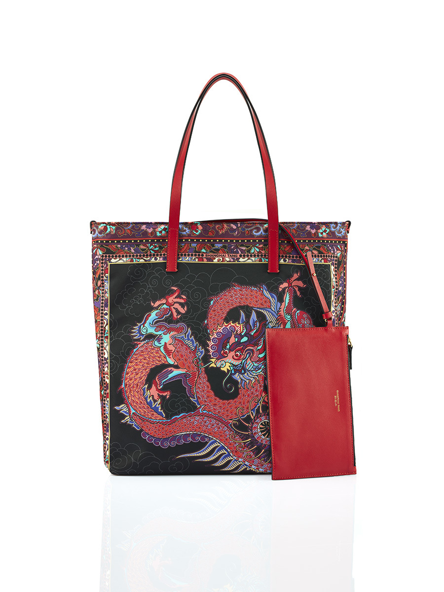 Dragon Print Shopper Tote