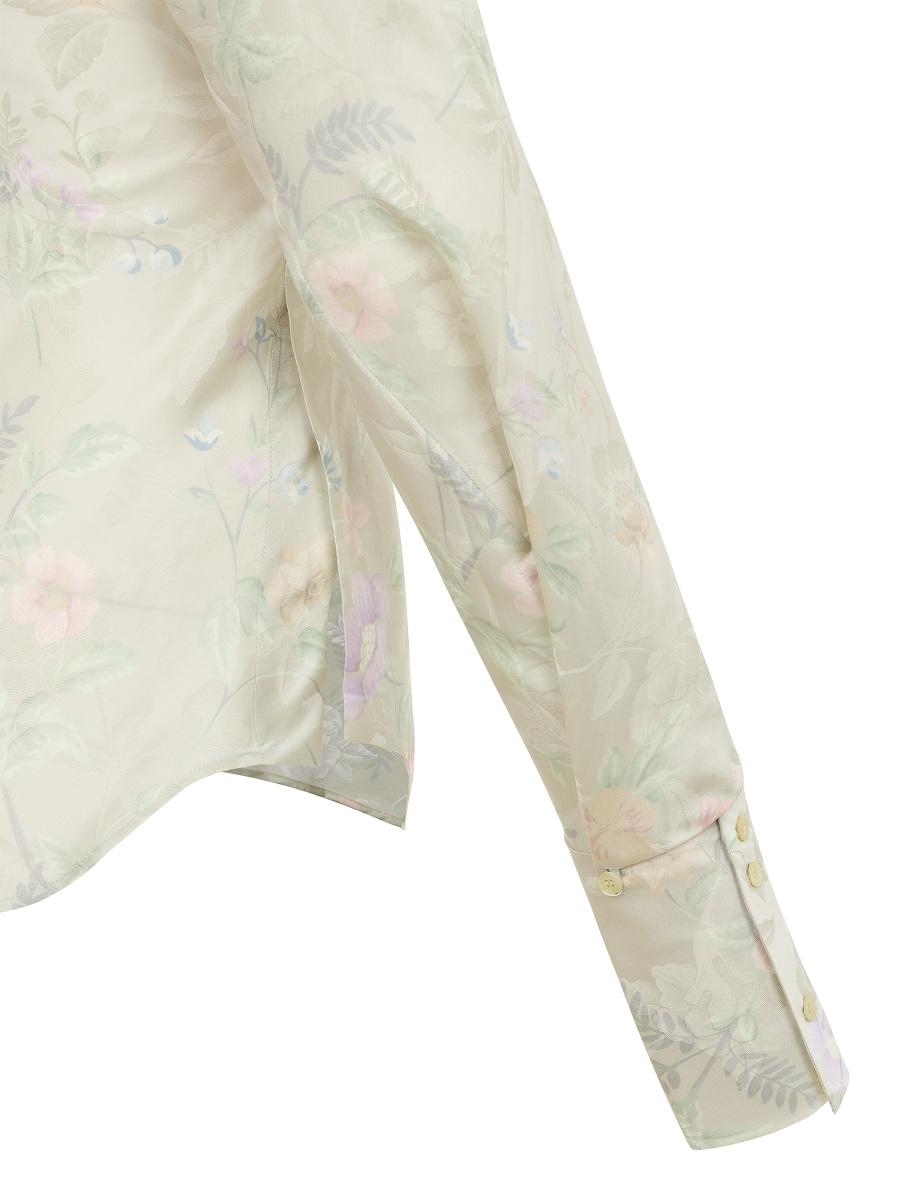 Yuni Ahn for Shanghai Tang Floral Jacquard Print Split Qipao Collar Blouse