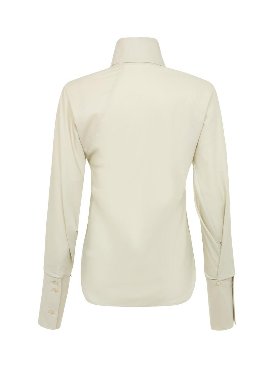 Yuni Ahn for Shanghai Tang Cotton Silk Poplin Split Qipao Collar Blouse