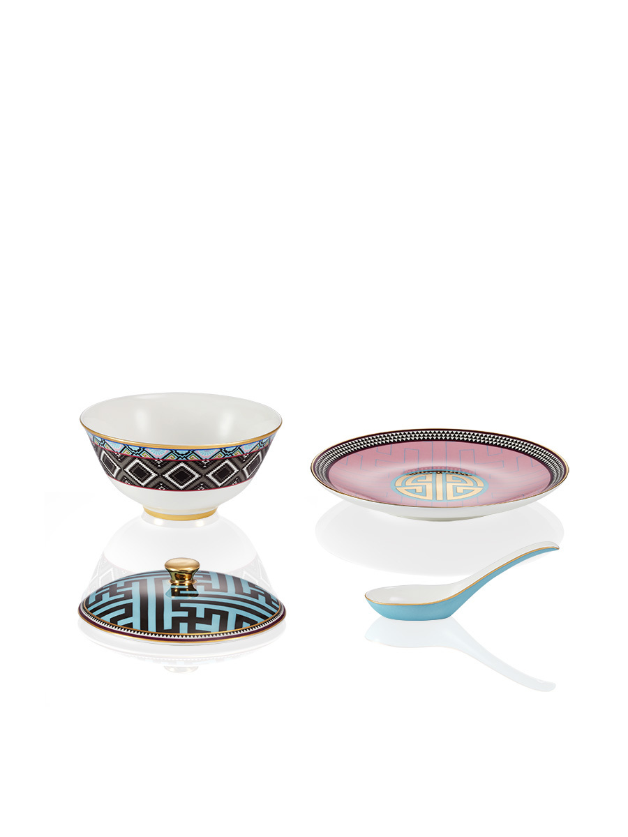 Ikat Bone China Bowl and Spoon Set with Lid