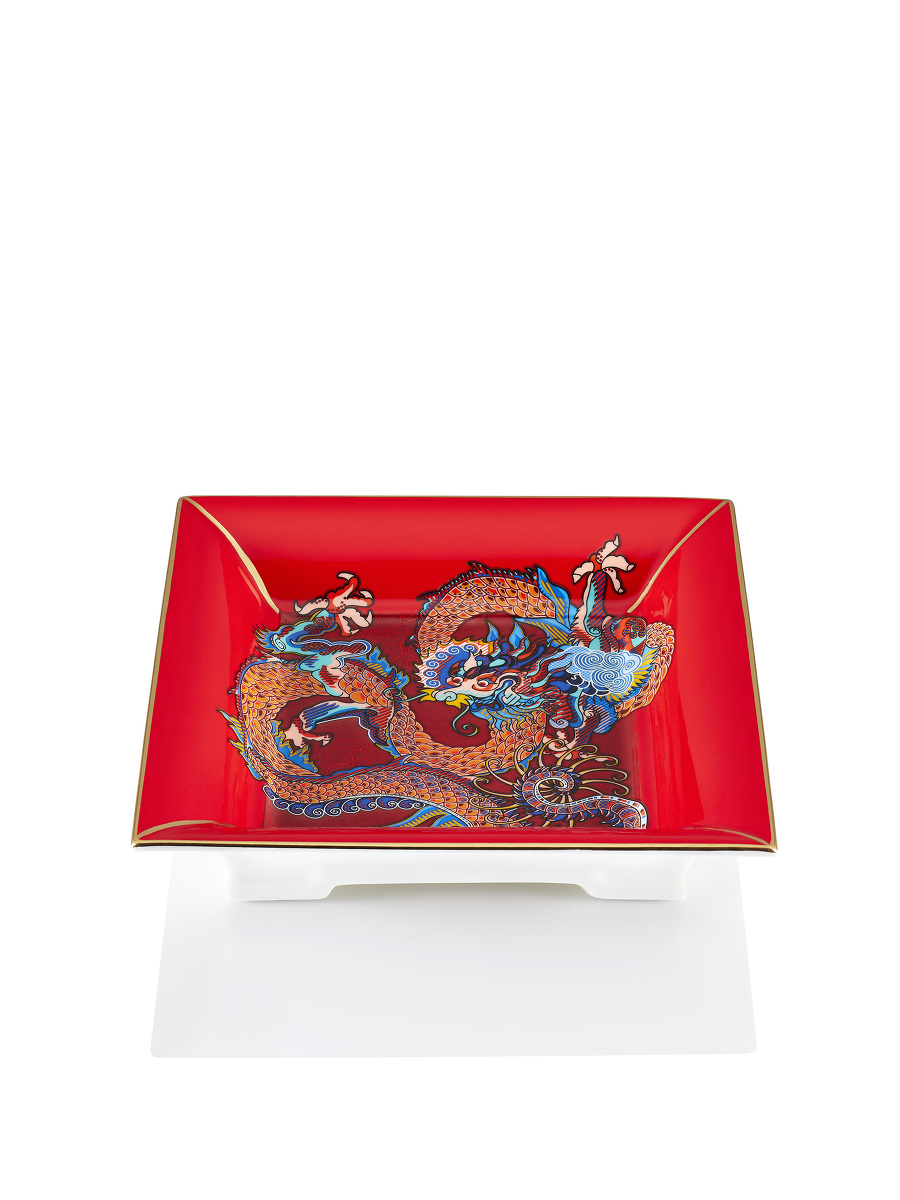 Vivid Dragon Fine Bone China Square Tray