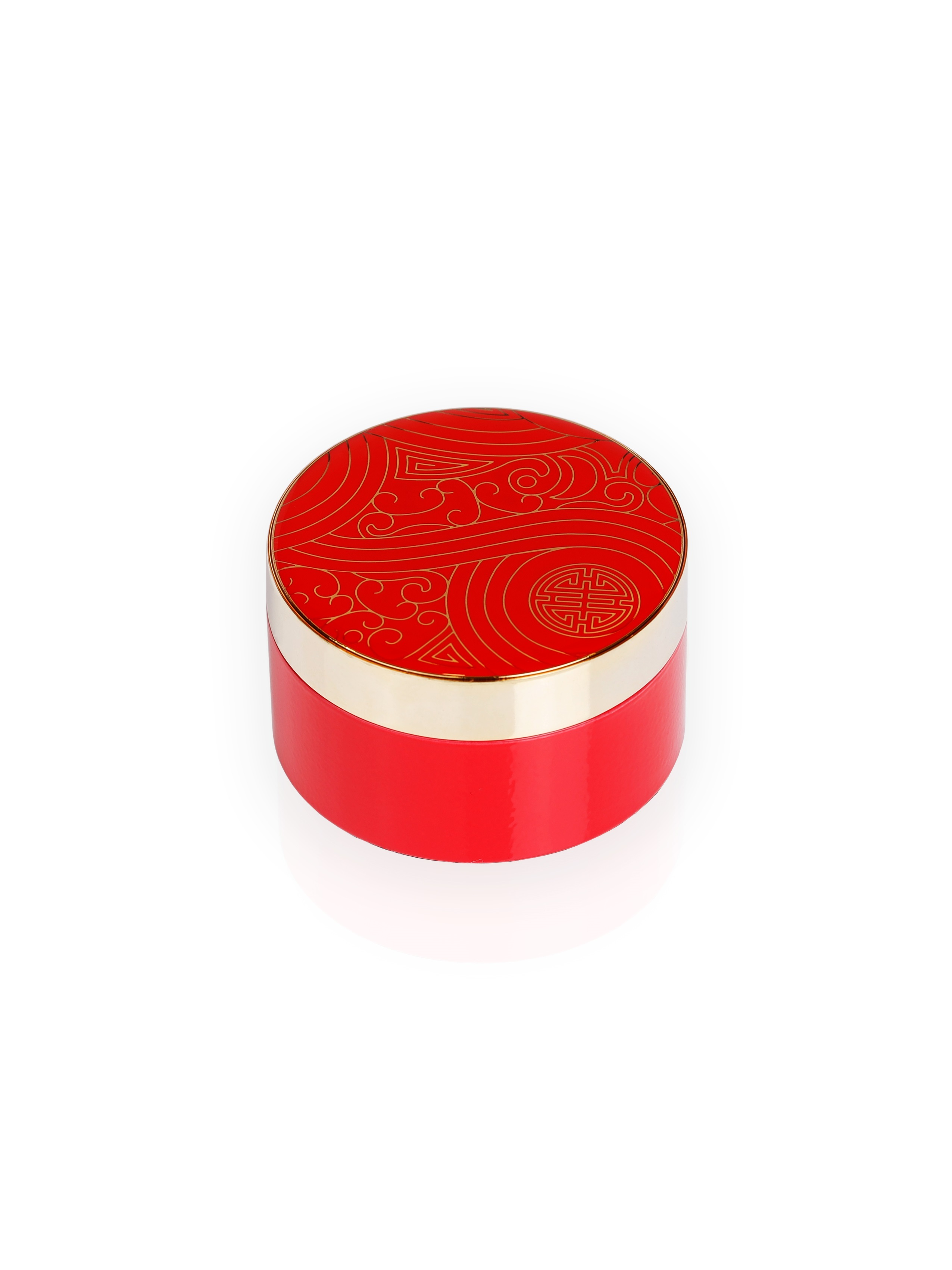 Prosperity Shou Enamel Round Trinket Box – Small