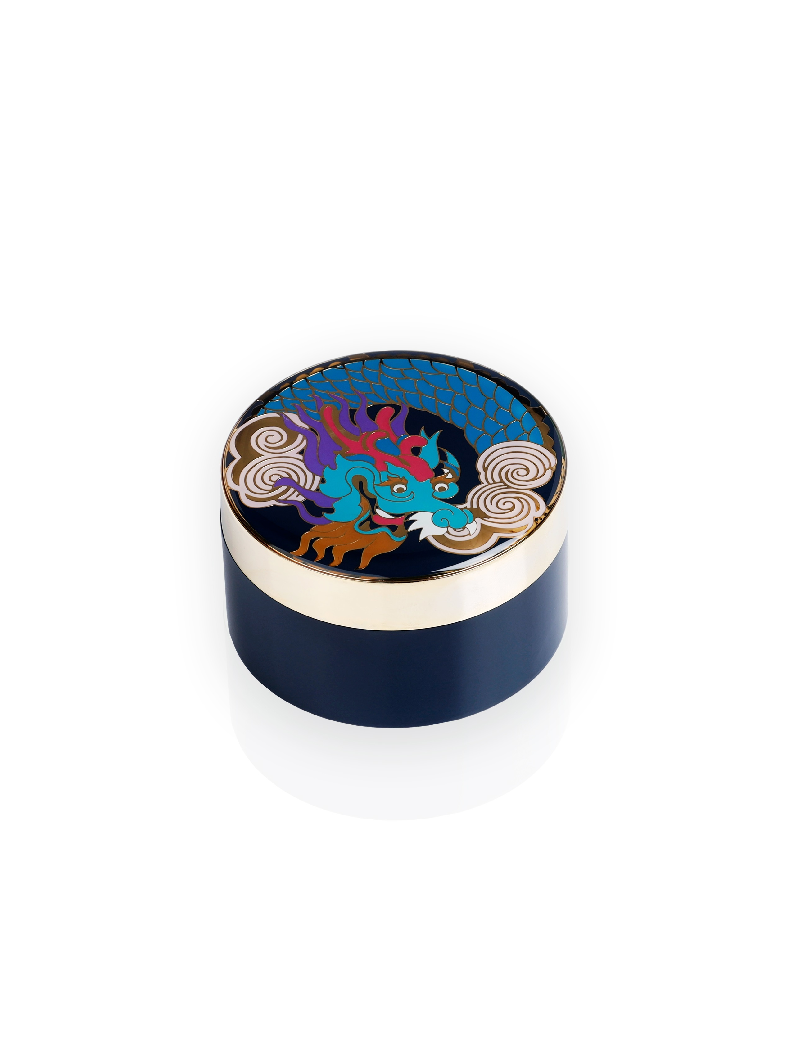 Vivid Dragon Round Enamel Box – Small