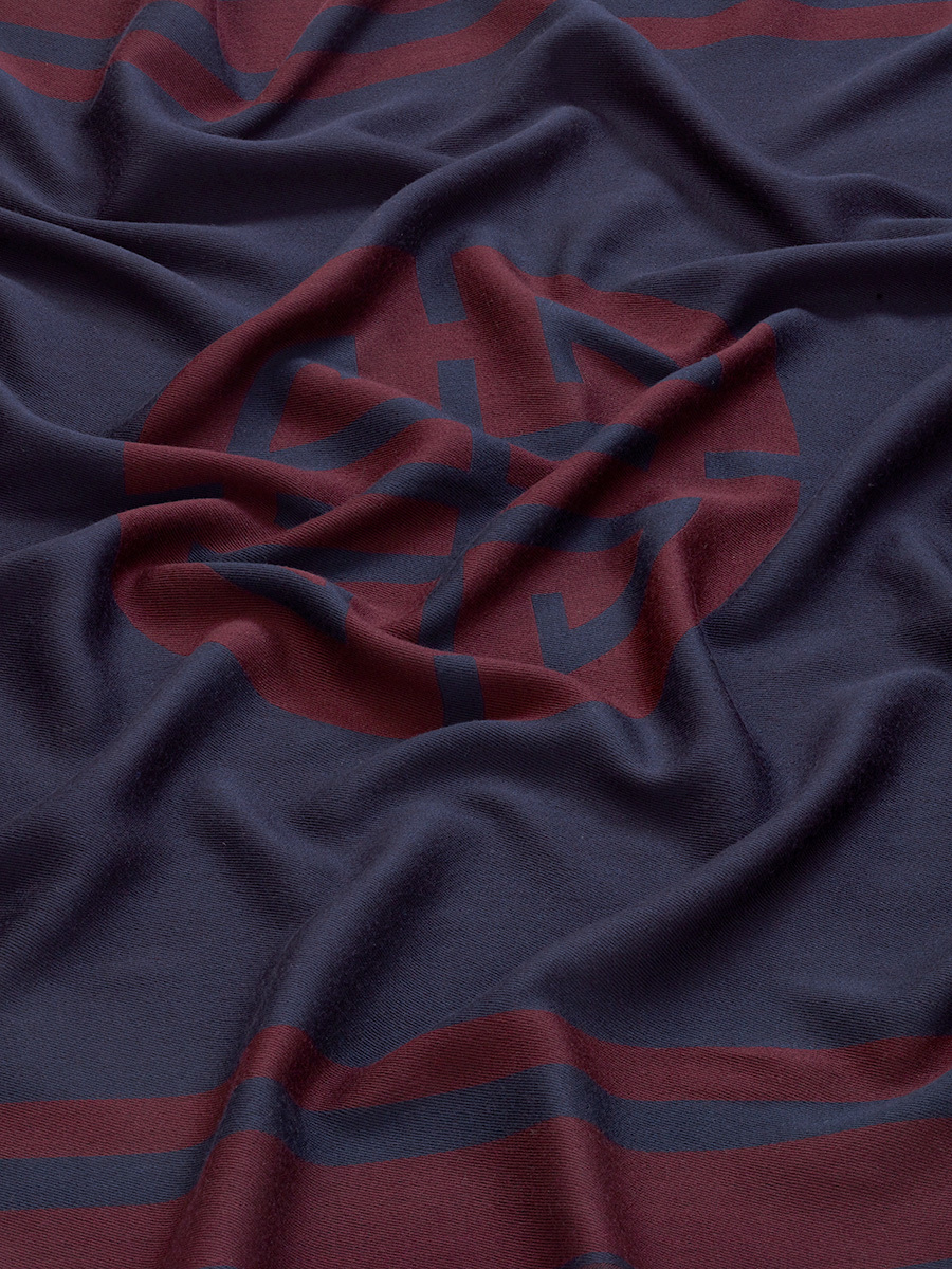 Shou Motif Wool Blend Scarf