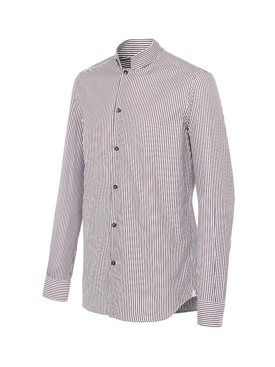 Striped Mandarin Collar Shirt