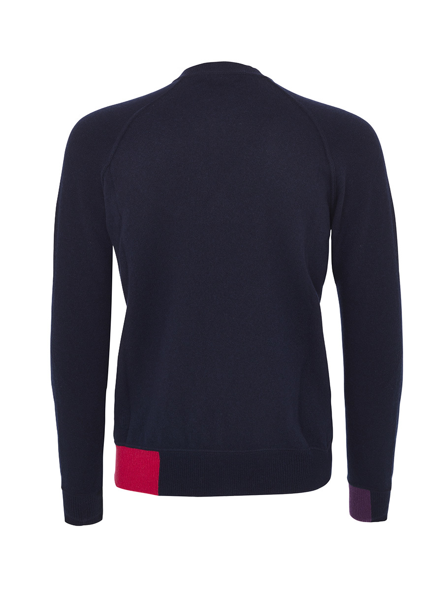 Sweater With Contrast At Collar And Waist